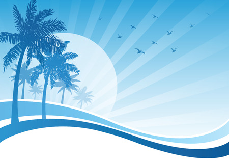 palm tree: Beautiful summer holidays with palm tree background, Vector illustration.