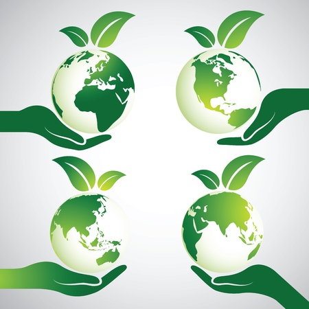 Hands Holding Green Earth Globe with leaves ,Vector Illustration