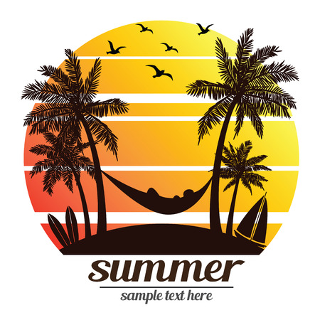 summer vacation on tropical beach Sunset with Palm trees ,vector illustration