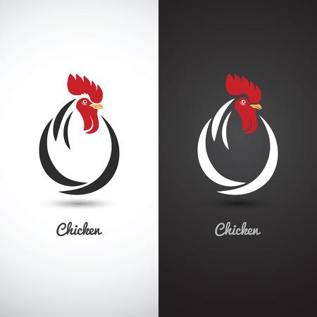 gallo: pollo y gallo mano boceto dibujado sobre fondo blanco, ilustración vectorial Vectores