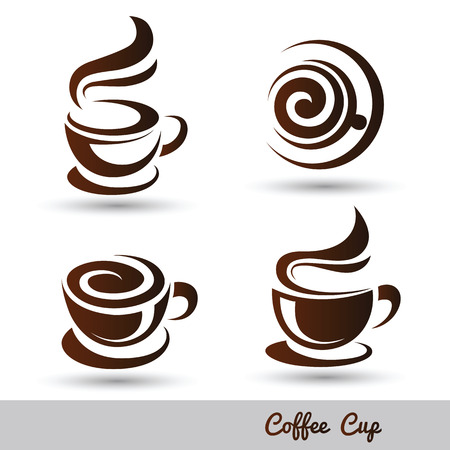 coffee beans background: coffee cup set vector,illustration