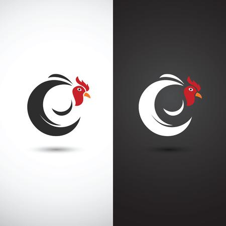 animal cock: Schizzo disegnato Gallo e cazzo mano su sfondo bianco, illustrazione vettoriale Vettoriali