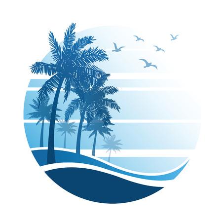 palmeras: vacaciones de verano en la playa tropical Puesta de sol, con palmeras, ilustración vectorial