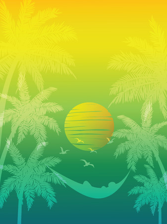 beach sunset: summer vacation on tropical beach Sunset background ,  with Palm trees Illustration