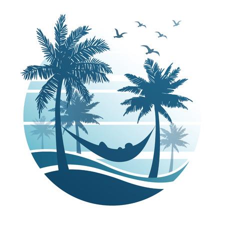 arbres silhouette: vacances d'été sur la plage tropicale avec palmiers, illustration vectorielle