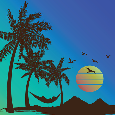 summer vacation on tropical beach Sunset with Palm trees background ,vector illustration