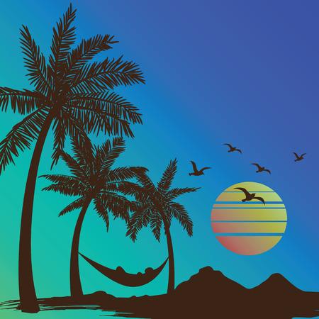 vacaciones en la playa: vacaciones de verano en la puesta del sol playa tropical con palmeras de fondo, ilustración vectorial Vectores