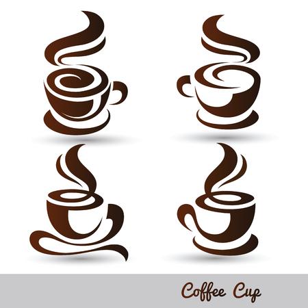 copa: taza de café conjunto de vectores, ilustración