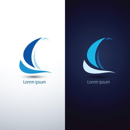 barche: Barca a vela icona simbolo, illustrazione vettoriale