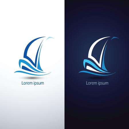 Barco de vela icono de símbolo, ilustración vectorial