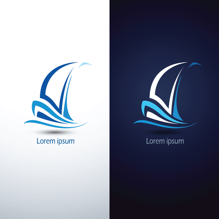 Barca a vela icona simbolo, illustrazione vettoriale