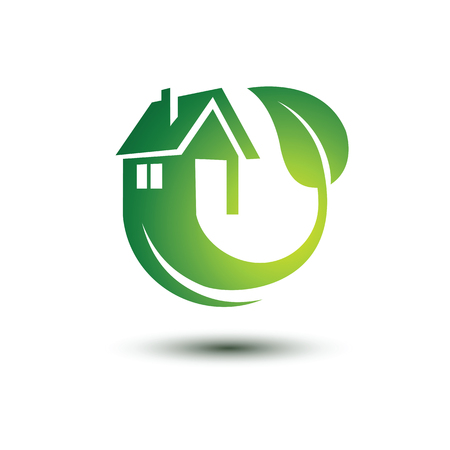 eco icons: Eco green house concept icons , illustration