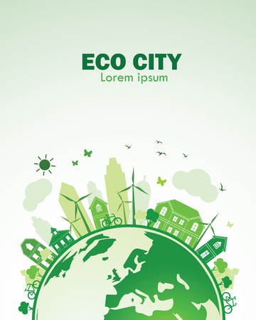 ciudad verde con el concepto verde de tierra de eco, ilustración