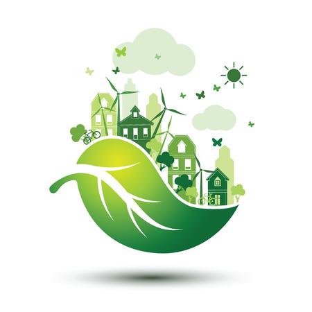 desarrollo sustentable: ciudad verde con Eco hojas verdes concepto, ilustración