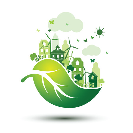 city background: green city with green Eco leaves concept ,illustration Illustration