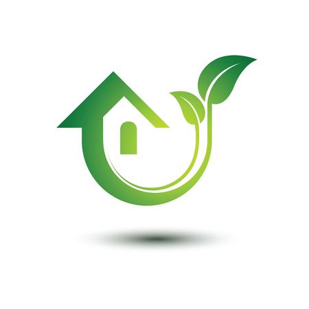 Eco concepto de casa verde iconos, ilustración