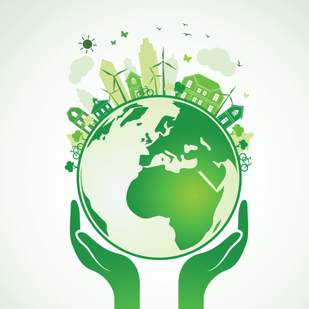 Hands Holding The Green Earth Globe with city ,Illustration Vectores
