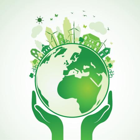 sustentabilidad: Manos que sostienen la tierra verde Globo con la ciudad, Ilustración