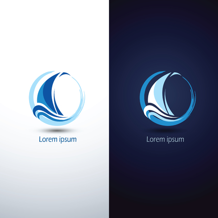 water wave: Sailing boat icon symbol ,illustration