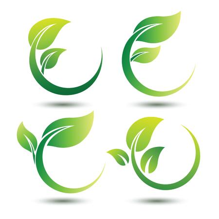 Zielona koncepcja etykiety z liśćmi, ilustracji wektorowych