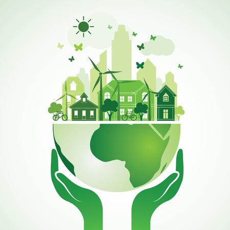 Manos que sostienen la tierra verde Globo con la ciudad, ilustración vectorial