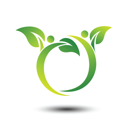 juntos: People with leaf vector logo design ecology concept  ,vector illustration