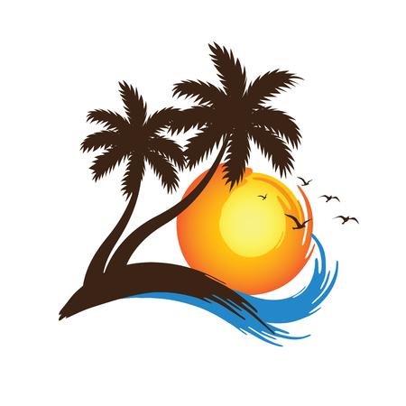 Palmiers tropicaux silhouettes avec Coucher de soleil, illustration vectorielle Banque d'images - 53007452