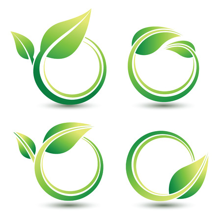 Green labels concept with leaves,illustration Vettoriali