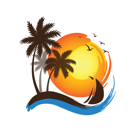 palm trees: Tropical palm trees silhouettes and sailboat with Sunset , illustration