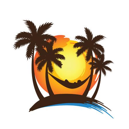 hamaca: vacaciones de verano en la playa puesta de sol tropical con palmeras, ilustración