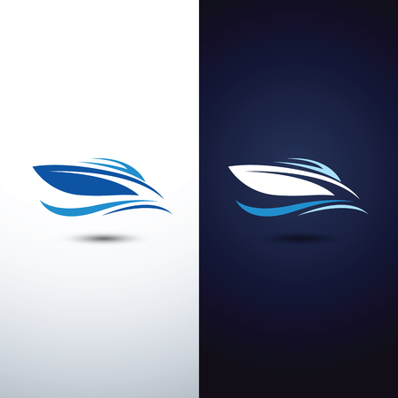 ocean waves: speed boat icon,illustration
