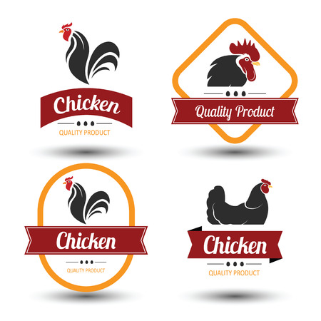 chicken meat: labels and badges set of chicken meat and eggs,illustration