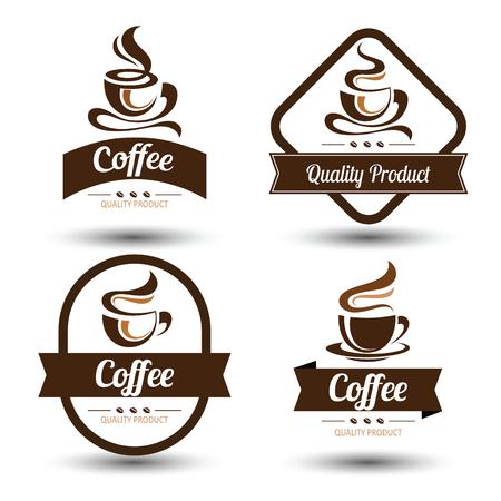 grano de cafe: insignias de café y conjunto de iconos de diseño de etiquetas, ilustración