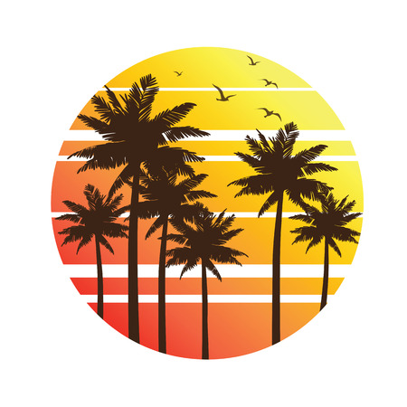 abstract black: Tropical palm trees island silhouettes with Sunset ,  illustration