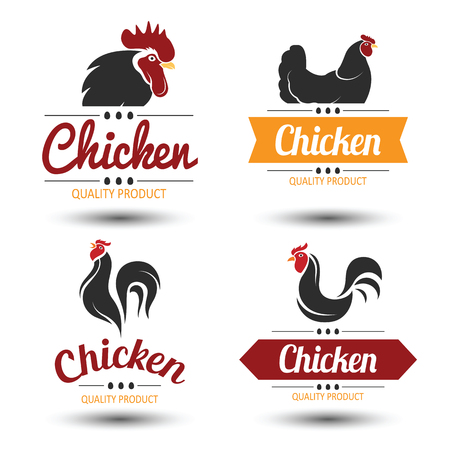 farms: labels and badges set of chicken meat and eggs,illustration