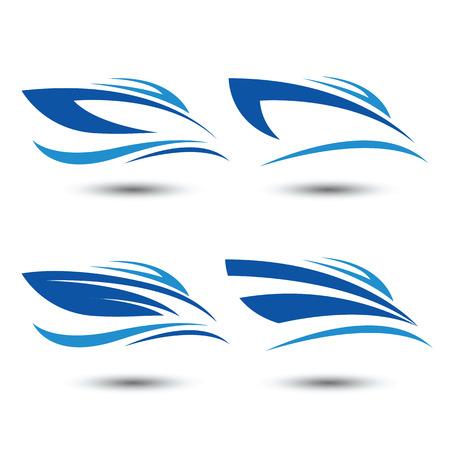 chaloupe: icône de bateau de vitesse, illustration