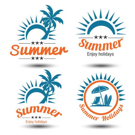 słońce: Letnie wakacje elementy konstrukcyjne ustawione. Retro rocznika szablony. Etykietki, odznaki, godła, ilustracja
