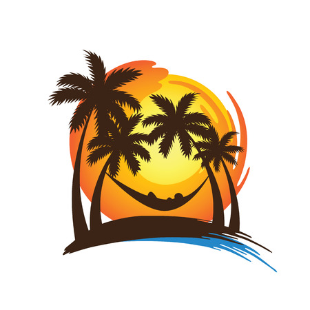 beach sunset: summer vacation on tropical beach sunset with Palm trees ,illustration