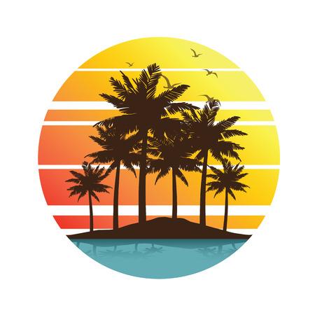 Tropische palmbomen eiland silhouetten met zonsondergang, illustratie