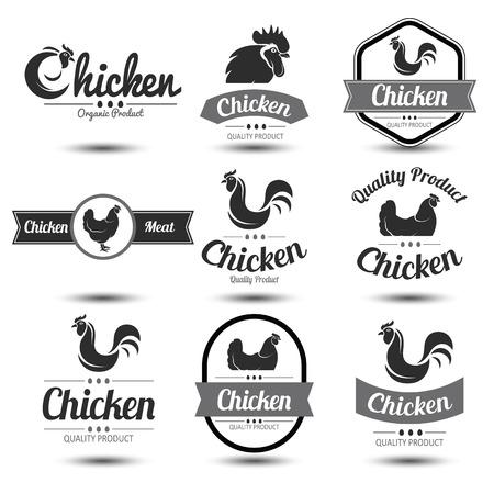 origen animal: etiquetas y escudos conjunto de la carne de pollo y huevos, ilustración Vectores