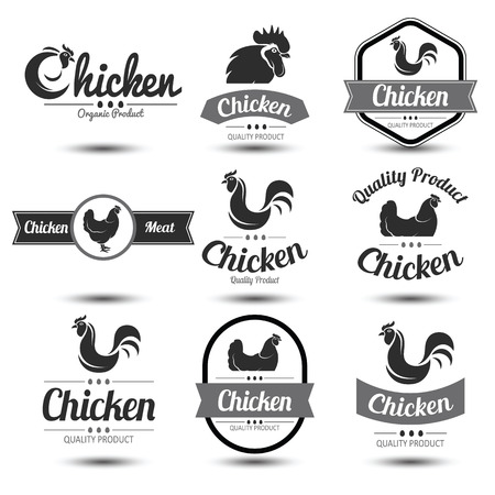 animal cock: labels and badges set of chicken meat and eggs,illustration