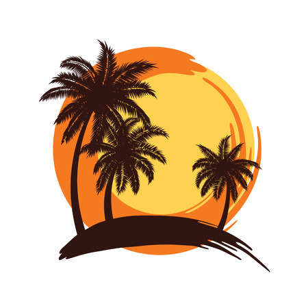 palm trees: Tropical palm trees silhouettes with Sunset , illustration Illustration