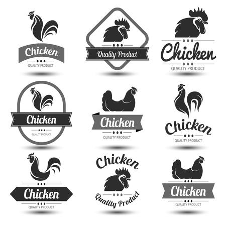 pollo: etiquetas e insignias conjunto de carne y huevos de pollo, ilustración vectorial Vectores