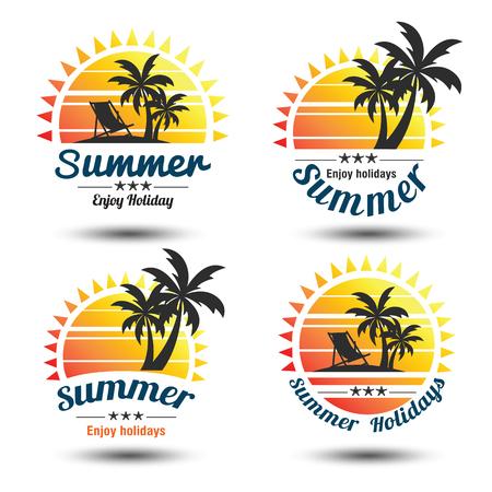 Sommerferien-Design-Elemente gesetzt. Retro und Vintage-Vorlagen. Etiketten, Abzeichen, Emblem, Vektor-Illustration