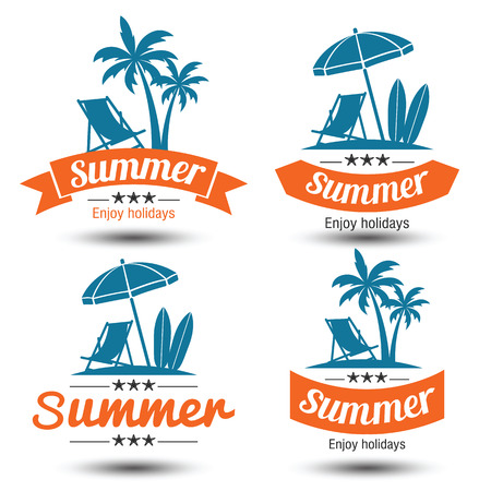 beach party: Summer holidays design elements set. Retro and vintage templates. Labels, Badges,emblem,vector illustration