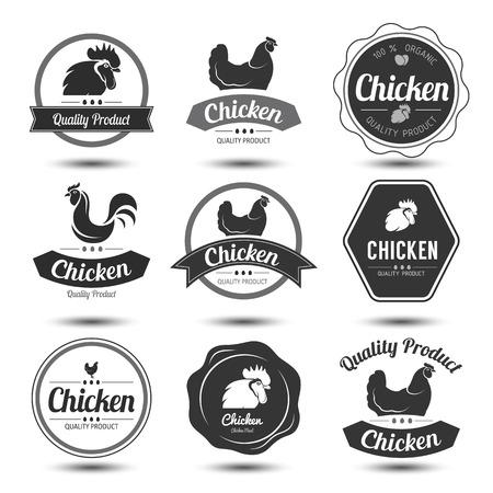 레이블 및 배지는 닭고기와 달걀, 벡터 일러스트 레이 션의 설정