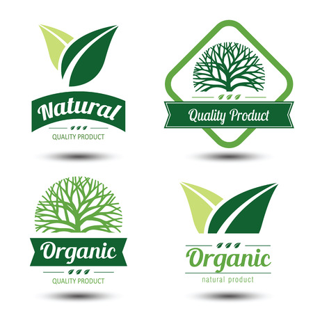 stamp collection: Set of eco labels and badges,emblem with leaves ,vector illustration