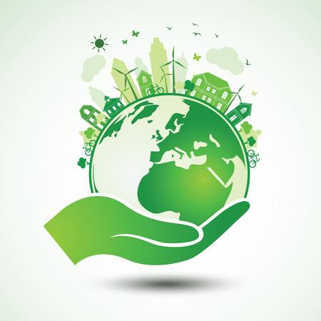 Handen die het Green Earth Globe met de stad, Vector Illustratie
