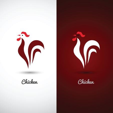 Huhn und Hahn-Design-Symbol auf weißem Hintergrund