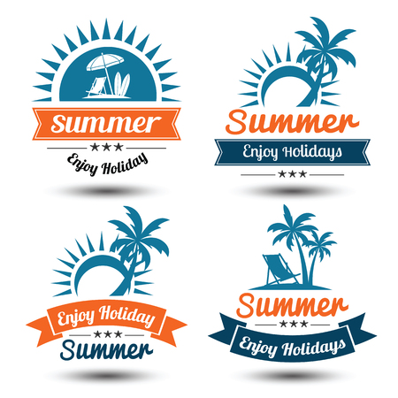 Summer holidays design elements set. Retro and vintage templates. Labels, Badges,emblem, illustration